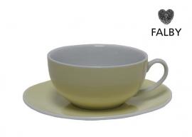Porseleinen kop en gratis schotel pastel geel