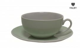 Porseleinen kop en gratis schotel pastel groen