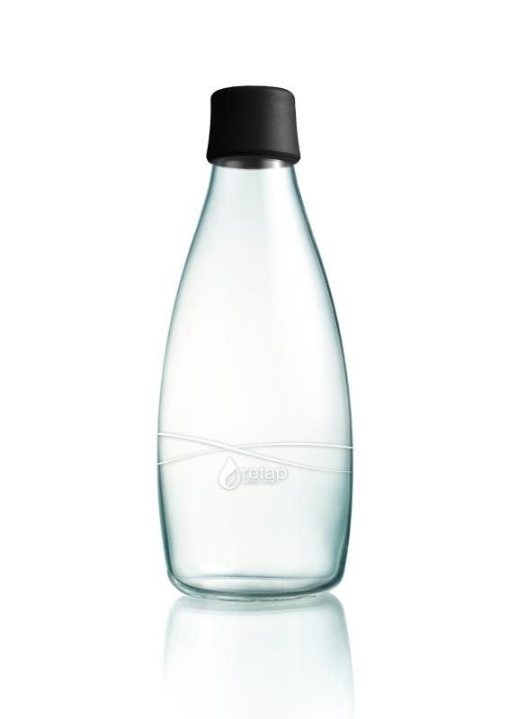 Retap Waterfles 0,8 lt met zwarte dop