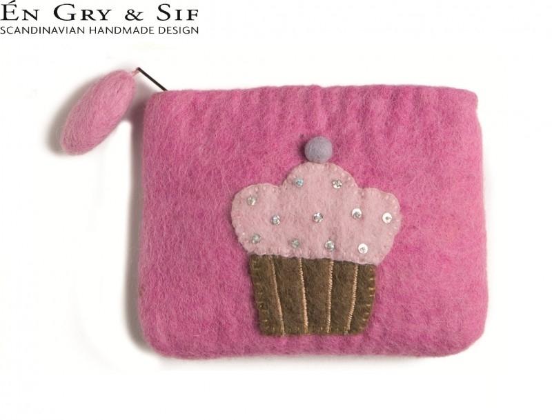 Portemonneetje roze met gebakje