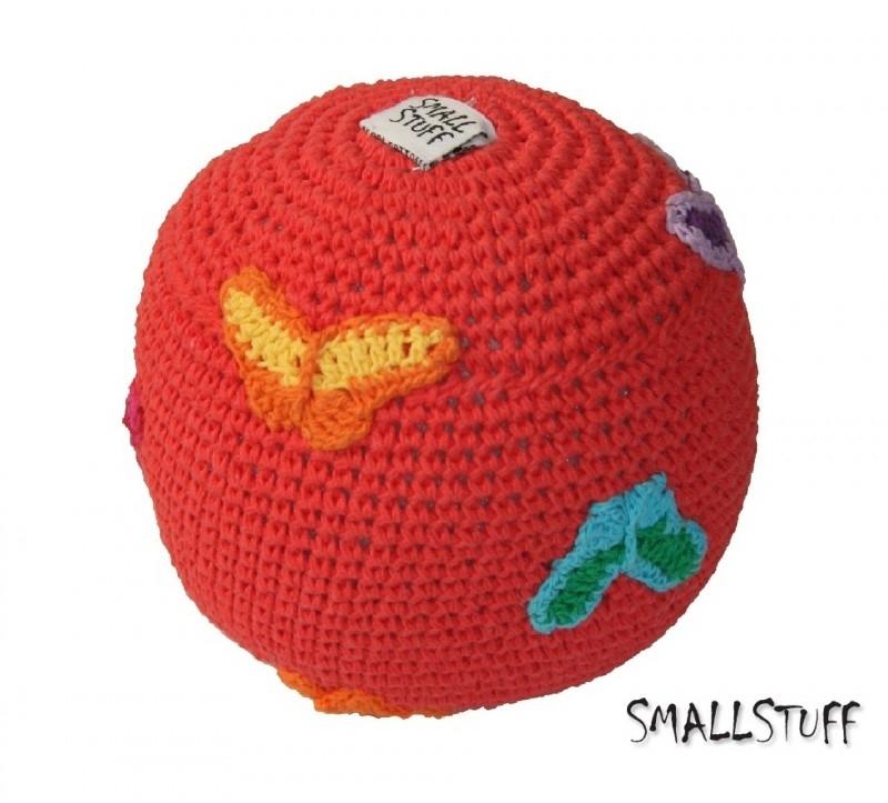 SmallStuff Design. Zachte speelgoedbal met vlindertjes patroon rood