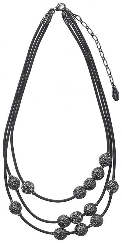 Zwarte ketting met zwart metaalkleurige hangers
