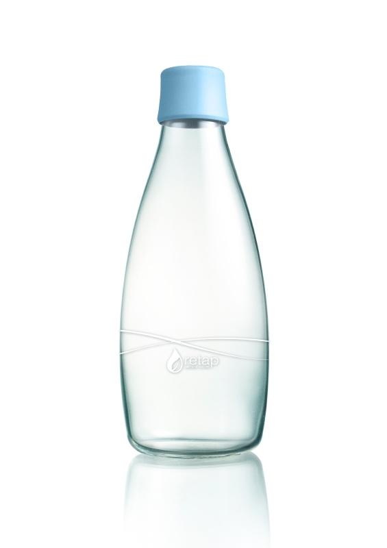 Retap Waterfles 0,8 lt met baby blauwe dop