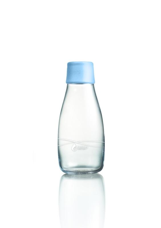 Retap Waterfles 0,3 lt met baby blauwe dop