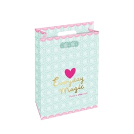 Rice Large Paper Gift Bag with Mint Lace Print