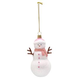 Greengate xmas snowman glass pale pink hanger