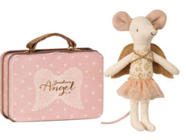 Maileg mouse big sister, guardian angel in suitcase