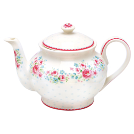 Greengate Stoneware Tess white teapot