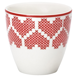 Greengate Stoneware Mischa red mini latte cup