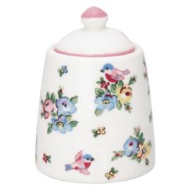Greengate Stoneware Ellie white sugar pot