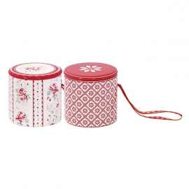 Greengate tin drum Vilma red, 2 assorti