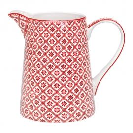 Greengate Stoneware Bianca red jug, 1 ltr.