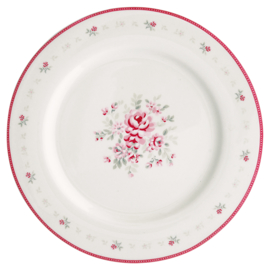 Greengate Stoneware Flora White dinnerplate