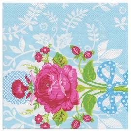 Pip Studio papieren servetten, Floral blauw