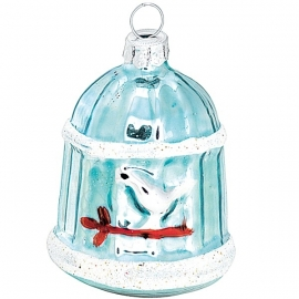 Greengate Xmas ball bird house blue