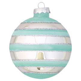 Greengate xmas ball glass Stripe mint