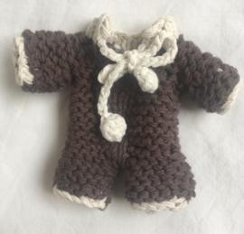 Maileg kledingsetje baby, brown knitted playsuit