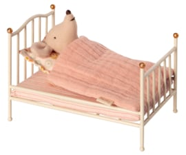 Maileg vintage baby or mouse bed, off-white with gold knobs