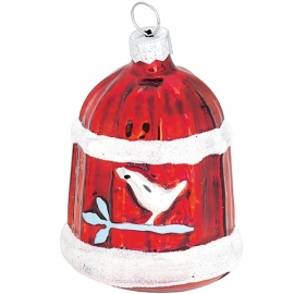Greengate Xmas ball bird house red