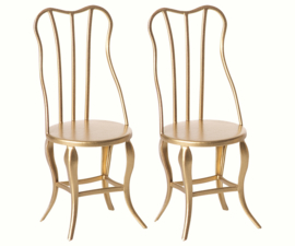 Maileg Vintage chair, for baby - Gold, 2 pack