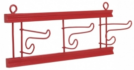 Rice houten kapstokje met 3 uitklapbare ijzeren haken, rood