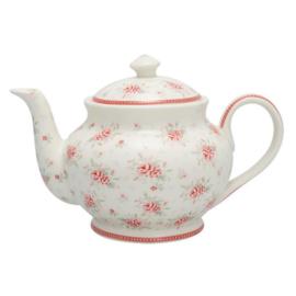 Greengate Stoneware Flora white teapot