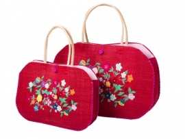 Rice raffia shopping bag, red with flower embroidery