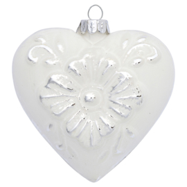 Greengate xmas heart glass Bianca white/silver