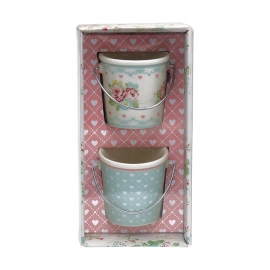 Greengate Stoneware Abelone white Small buckets set of 2