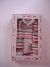 Maileg kledingsetje medium boy, striped shirt + grey pants