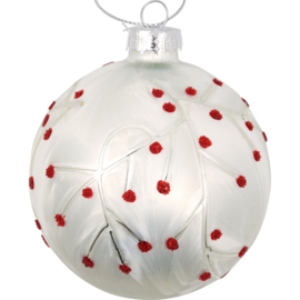 Greengate xmas glass ball Abi petit white