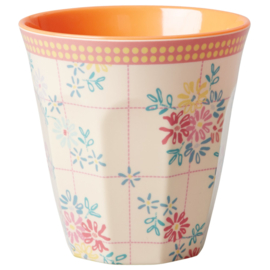 Rice melamine beker, embroidered flower