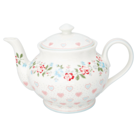 Greengate Stoneware Sonia white teapot