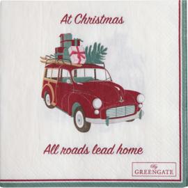 Greengate paper Napkin Christmas car white small 20pcs