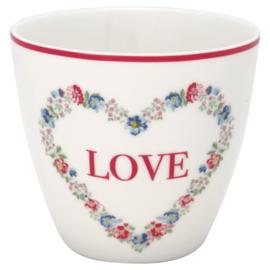 Greengate Stoneware Heart love white latte cup
