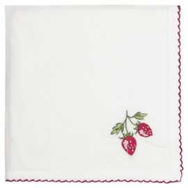 Greengate Napkin Strawberry red w/embroidery 40x40cm