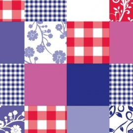 plakfolie blauw/rood/roze patchwork