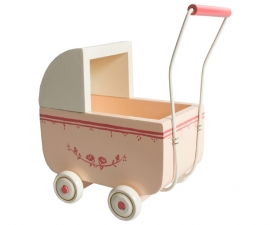 Maileg small wandelwagen, pink incl. beddengoed