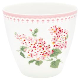 Greengate Stoneware Luna white latte cup