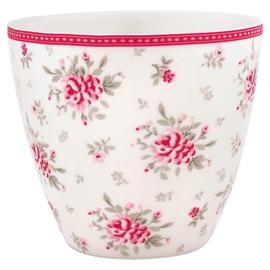 Greengate Stoneware Flora White latte cup