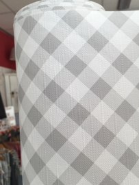 tafelzeil diagonaal ruitje lichtgrijs/wit