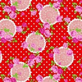 plakfolie rood/witte stip & bloemprint