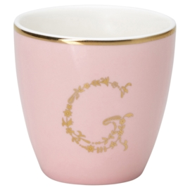 Greengate Stoneware Pale pink G Mini latte cup