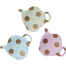 Rice melamine teabag holder w. gold polkadots, 3 assorti