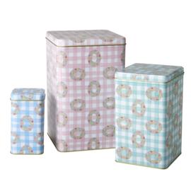 Rice tin kitchen jars Vichy, set of 3