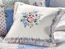 Greengate Cushion cover Nicoline white pieceprinted 40x40cm