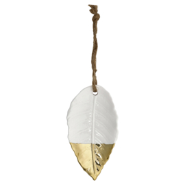 Greengate ornament Ceramic Bay leaf white/gold