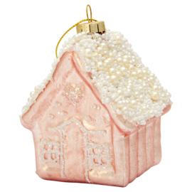 Greengate xmas glass house pale pink hanger