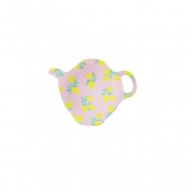 Rice melamine teabagholder, pink w. lemon print