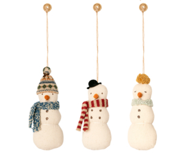 Maileg fabric snowman-hanger 3 assorti